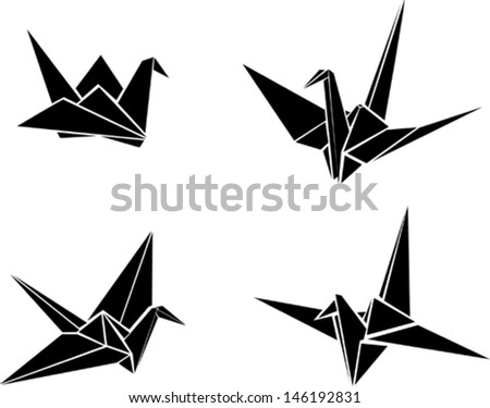 Origami paper cranes - stock vector