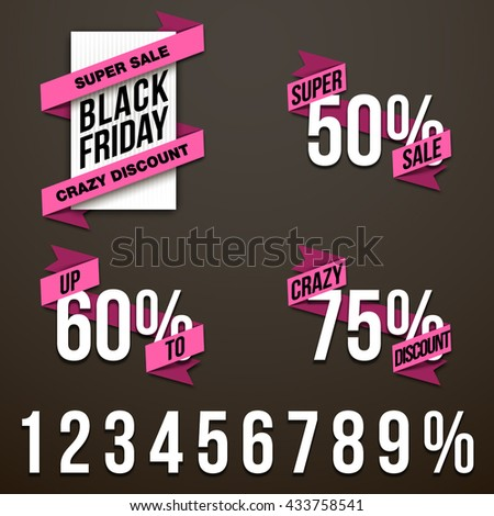 Origami paper crazy discount infographic colorful banners set. Annotation ribbon Black Friday business november sale. Advertising Design shape. Speech talking cloud. Vector label tag icons flat design - stock vector