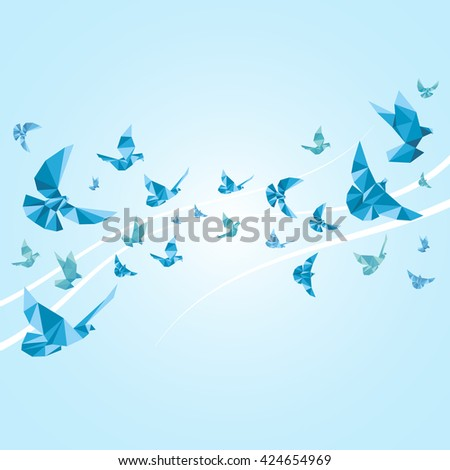 Origami paper doves. Abstract background with bird, animal decoration pigeon. Vector illustration