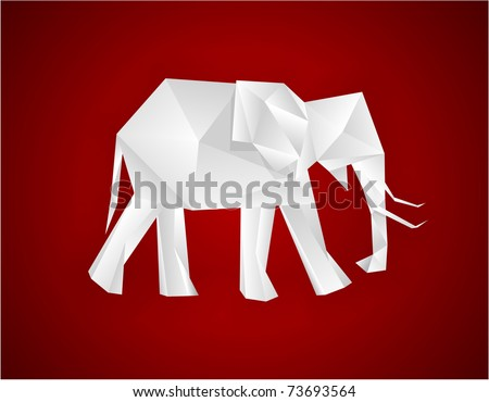 Origami paper elephant on red. Vector EPS8.