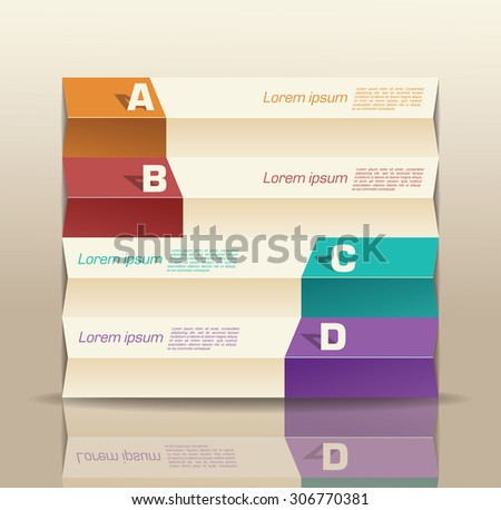 origami paper graph infographic - stock vector