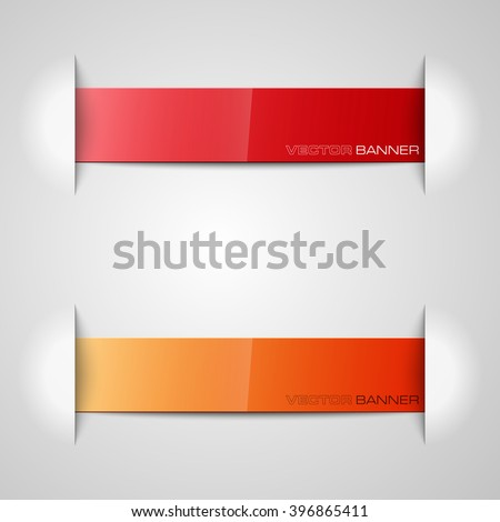 Origami paper infographic colorful banners set. Annotation ribbon. Design shape. Speech talking cloud. Vector label tag.  - stock vector