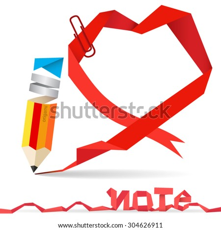 Origami Paper Pencil and Red Heart Note Paper With Paper Clip Idea concept vector, Illustration