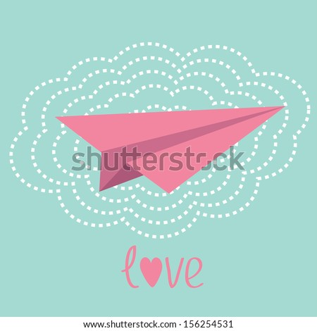 Origami paper plane and big cloud in the sky. Love card. Vector illustration. - stock vector
