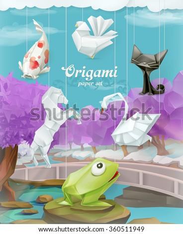 Origami paper set, vector background - stock vector