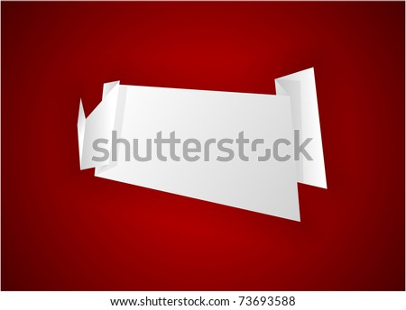 Origami paper sheet on red. Vector EPS8.