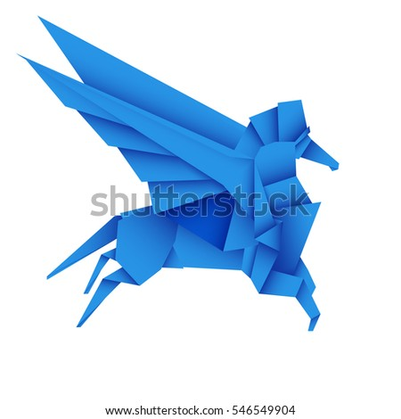 Origami Pegasus Winged Horse Stock Vector Hd Royalty Free