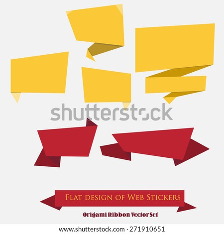 Origami Ribbon Vector Set. Collection of origami speech bubble vector background - stock vector