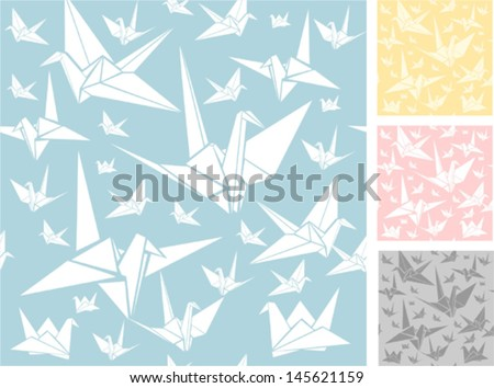 Origami seamless pattern - stock vector