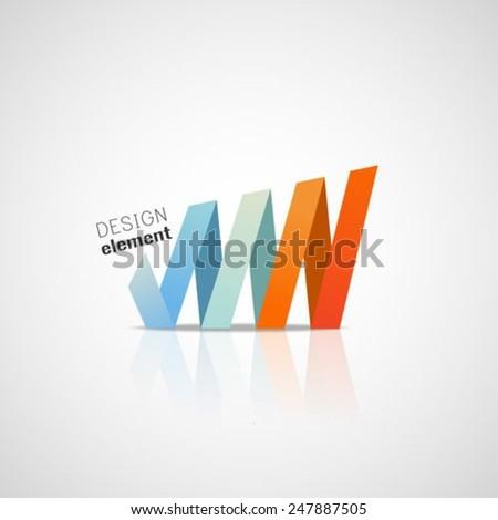 Origami shape.logo design  template  - stock vector