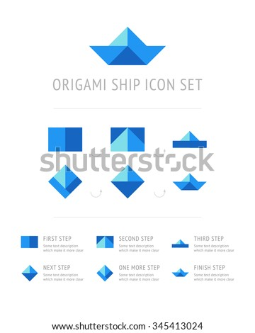 Origami Ship Icon Pack With Process Of Making