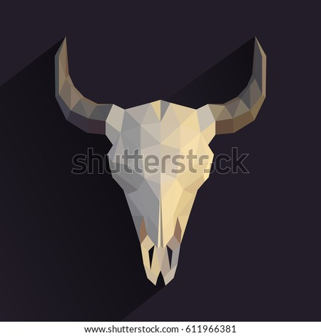Origami Skull Of An Animal Low Poly Illustration