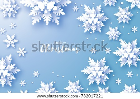 Origami Snowfall. Merry Christmas Greetings card. White Paper cut snow flake. Happy New Year. Winter snowflakes background. Space for text. Holidays. Blue background. Vector