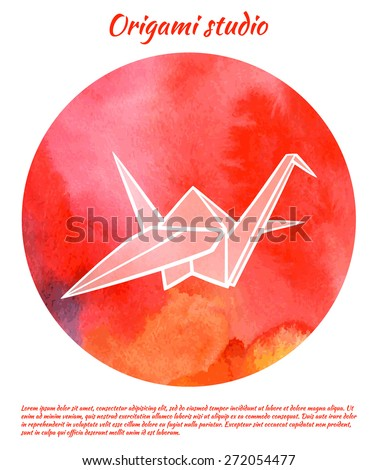 Origami Studio Logo Watercolor Crane Isolated On Red Background