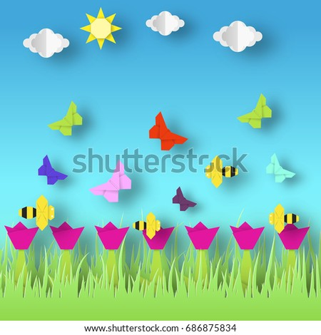 Origami Style Crafted Out Of Paper With Cut Colorful Flowers Butterflies Abstract Scene Flying