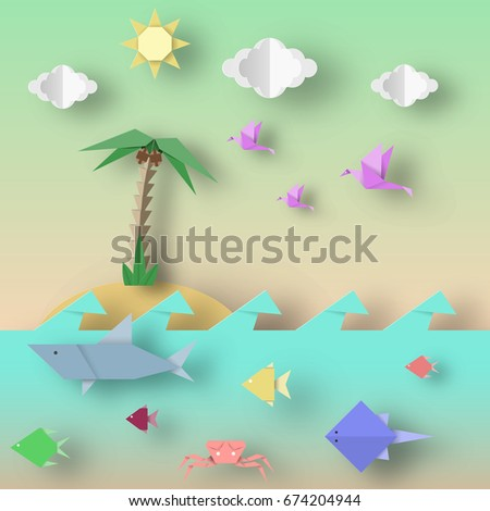 Origami Style Crafted Out Paper Cut Stock Vector Royalty Free