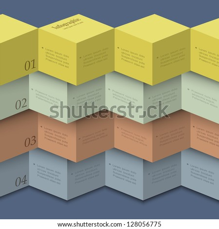 Origami style - design template for infographics,numbered banners,website layout. Vector EPS10 - stock vector