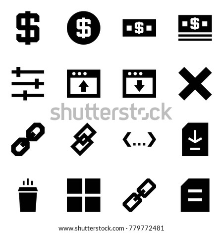 Origami style icon set - dollar sign vector, money, settings, upload, download, delete, link, code, document, hot drink, group purchase