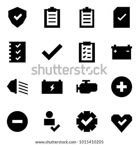 Origami style icon set - shield vector, clipboard, check document, list, car battery, low beam, engine, add, minus, user, guarantee, heart