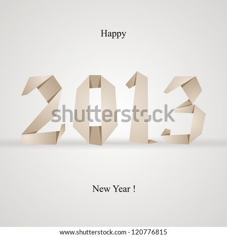 Origami style new year card. - stock vector