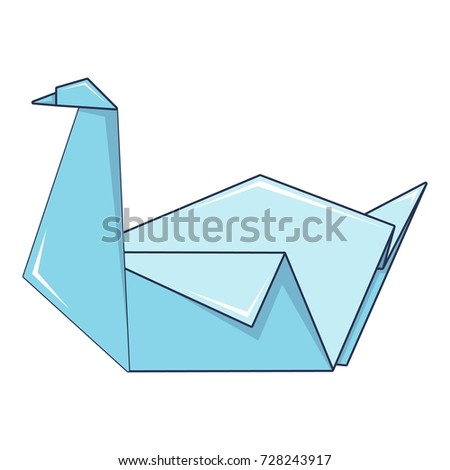 Origami Swan Icon Cartoon Illustration Of Vector For Web