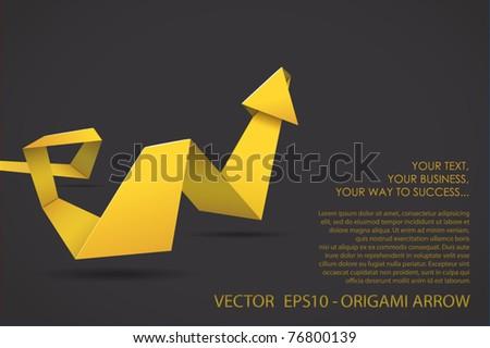 Origami three-dimensional arrow - stock vector