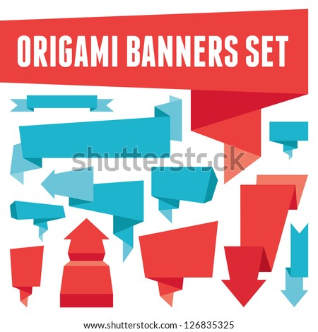 Origami vector banners set for advertising, presentation, booklet, website and other projects. Design elements. Polygonal origami banners set. Place your text here. Banners and ribbons collection.  - stock vector