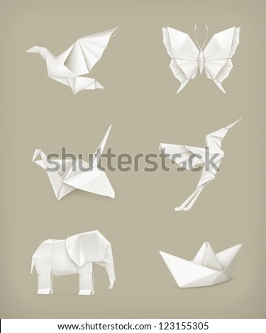 Origami vector set, white - stock vector