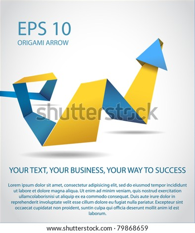 origami way to success ( arrow pointing up) - stock vector