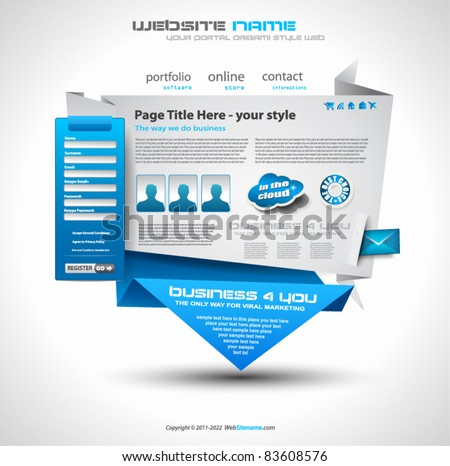 Origami Website - Elegant Design for Business Presentations. Template with a lot of design elements. Every Shadow is transparent - stock vector