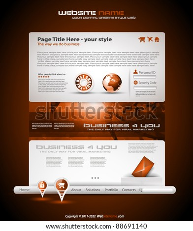 Origami Website - Elegant Design for Business Presentations. Template with a lot of design elements. - stock vector