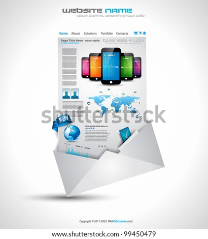 Origami Website - Elegant Design for Business Presentations. Template with a lot of design elements. Transparent shadows. - stock vector