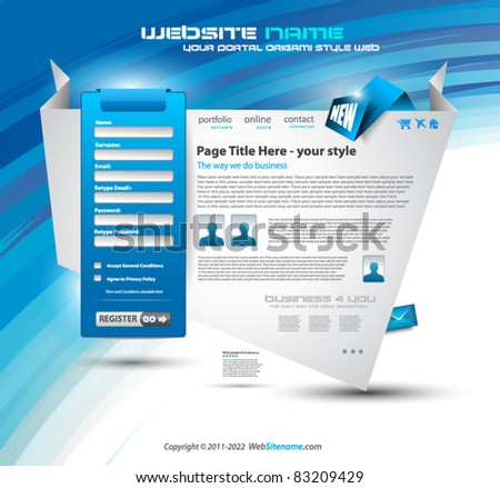Origami Website - Elegant Design for Business Presentations with a lot of design elments and a login form. - stock vector