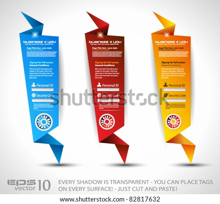 Origami Website vertical login form panels or banner to use for original style template designs for business elegant presentation. - stock vector