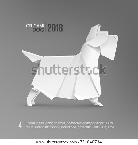 Origami White Dog Scotch Terrier Vector Template Isolated From Grey Paper Pet For