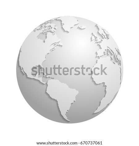 Origami white paper world globe. 3d vector illustration global earth map, origami planet sphere