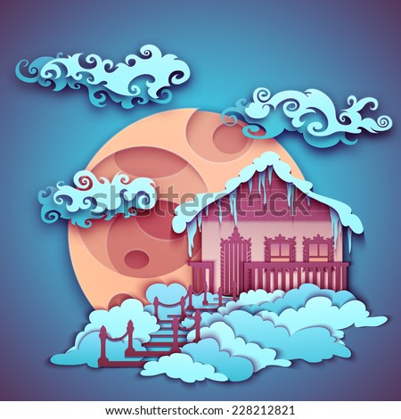 Origamy moon with clouds on night sky. Vector illustration.