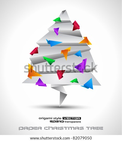 Origamy style paper Christmas tree for original greetings modern card.