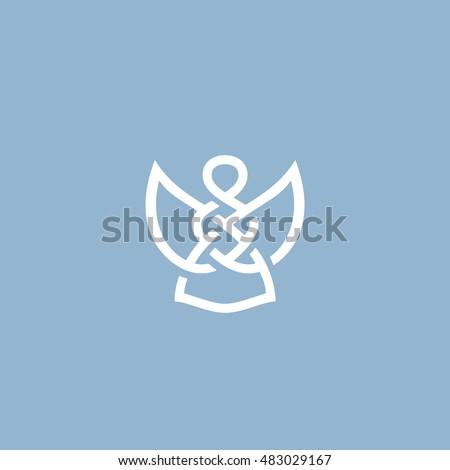 Original Abstract Angel Minimal Symbol Memorable Stock Vector