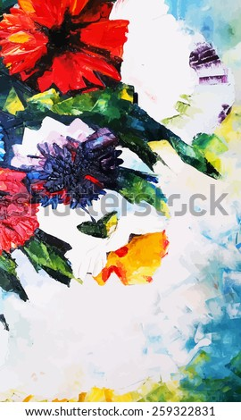 Original abstract background. Hand draw oil painting composition. Vector illustration with flowers. - stock vector