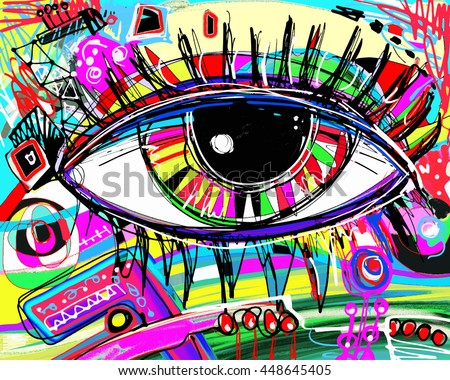 original abstract digital painting of human eye, colorful composition in contemporary modern art, perfect for interior design, page decoration, web and other, vector illustration