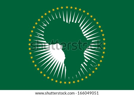 original and simple African Union (AU) flag isolated vector in official colors and Proportion Correctly - stock vector