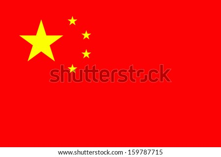 original and simple China flag isolated vector in official colors and Proportion Correctly - stock vector