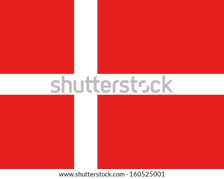 original and simple Denmark flag isolated vector in official colors and Proportion Correctly - stock vector
