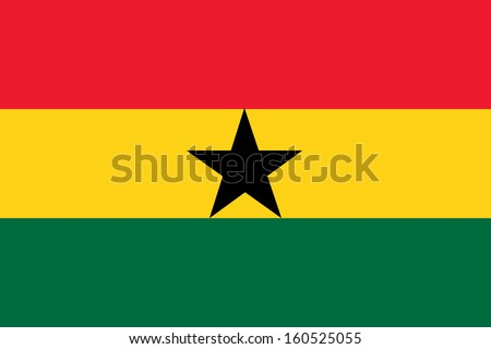 original and simple Ghana flag isolated vector in official colors and Proportion Correctly - stock vector