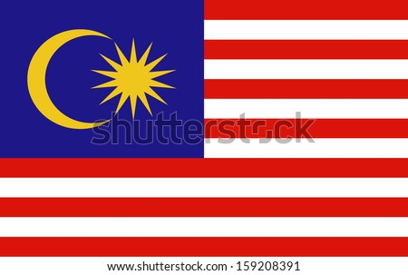 original and simple Malaysia flag isolated vector in official colors  and Proportion Correctly The Malaysia is a member of Asean Economic Community (AEC) - stock vector