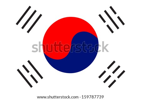 original and simple South Korea flag isolated vector in official colors and Proportion Correctly - stock vector