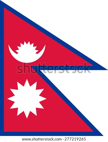original and simple The Federal Democratic Republic of Nepal flag isolated vector in official colors and Proportion Correctly - stock vector