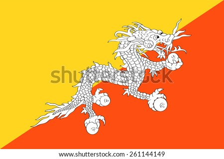 original and simple The Kingdom of Bhutan flag isolated vector in official colors and Proportion Correctly - stock vector