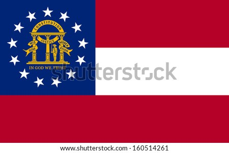 original and simple U.S. state of Georgia / the United States of America State Georgia flag isolated vector in official colors and Proportion Correctly - stock vector